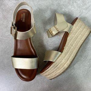 Mossimo Nonie Gold Espadrille Platform Sandals Sz8